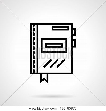 Abstract symbol of organizer or copybook with bookmarks. Daily planning and management, office accessories. Black simple line design vector icon.