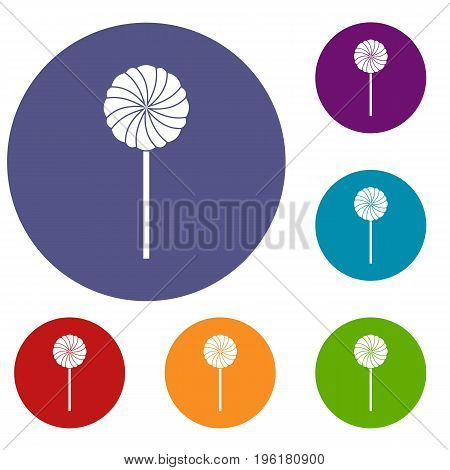 Round candy icons set in flat circle red, blue and green color for web