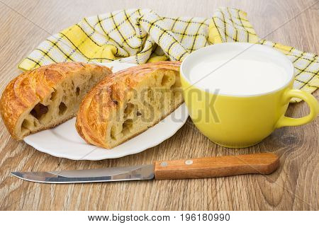 Pieces Of Sweet Bun In Plate,napkin, Cup With Milk