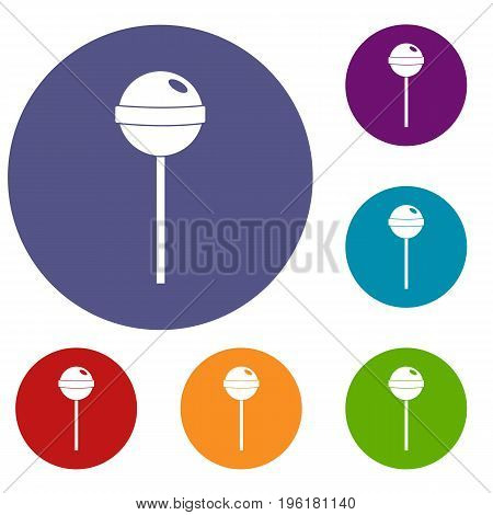 Tasty candy icons set in flat circle red, blue and green color for web