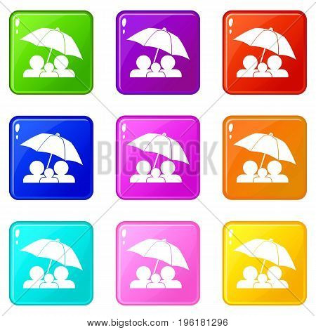 Family under umbrella icons of 9 color set isolated vector illustration