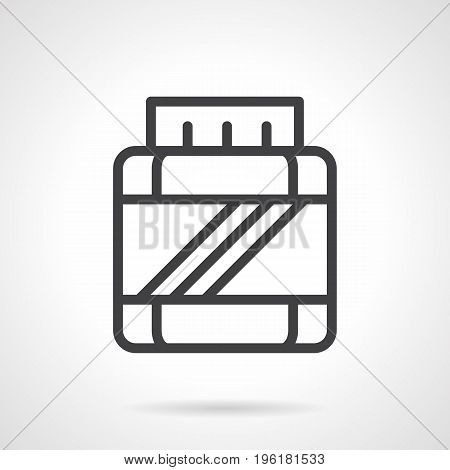 Abstract symbol of jar with BCAA. Sport nutrition and supplements concept. Black simple line design vector icon.