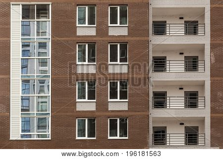 beautiful facade of the building with windows