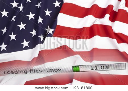 Downloading Files On A Computer, Us Flag