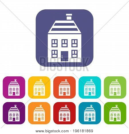 Two-storey house with chimney icons set vector illustration in flat style in colors red, blue, green, and other