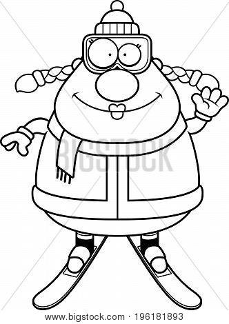 Cartoon Skier Waving