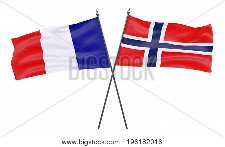France and Norway, two crossed flags isolated on white background. 3d image