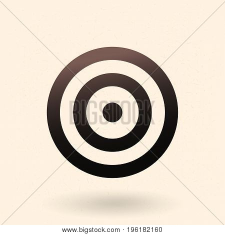 Vector Black Target Icon on White Background