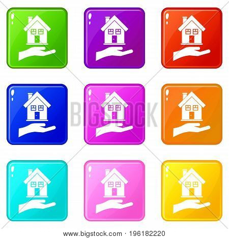 Hand holding house icons of 9 color set isolated vector illustration