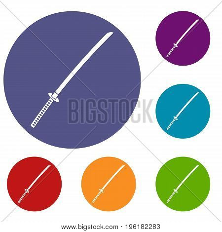 Japanese katana icons set in flat circle red, blue and green color for web