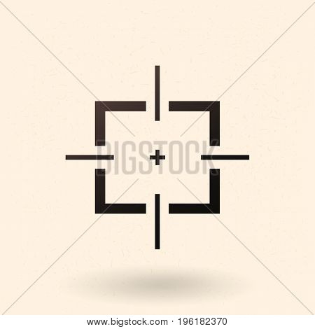 Vector Black Optical Sight Aim Icon on White Background