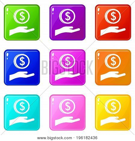 Hand and dollar coin icons of 9 color set isolated vector illustration