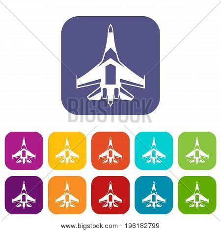 Jet fighter plane icons set vector illustration in flat style in colors red, blue, green, and other