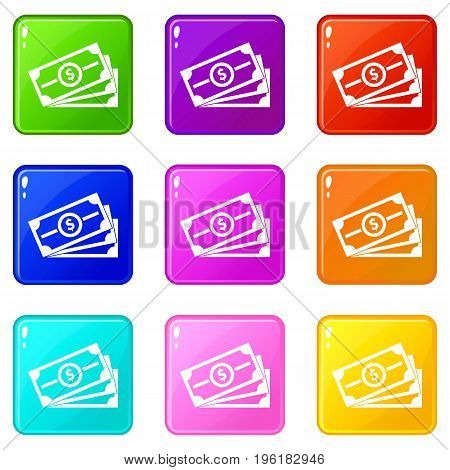 Stack of dollar bills icons of 9 color set isolated vector illustration