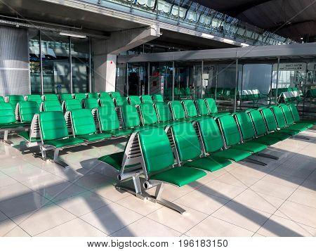 Green Passenger waiting seat at airport lounge waiting for flight