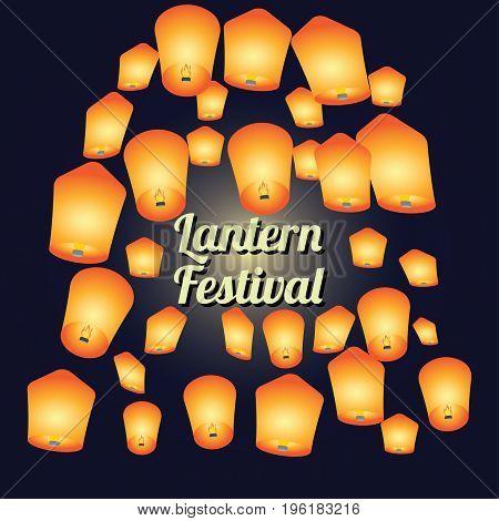 sky lantern festival for lantern festival poster. vector illustration