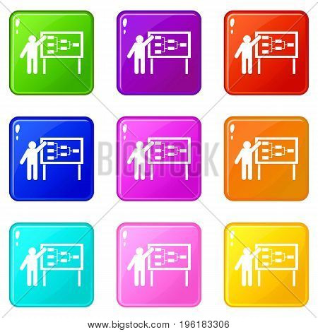 Businessman and presentation screen with scheme icons of 9 color set isolated vector illustration
