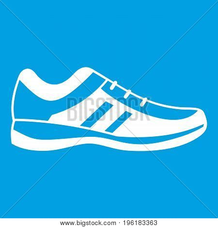 Men sneakers icon white isolated on blue background vector illustration