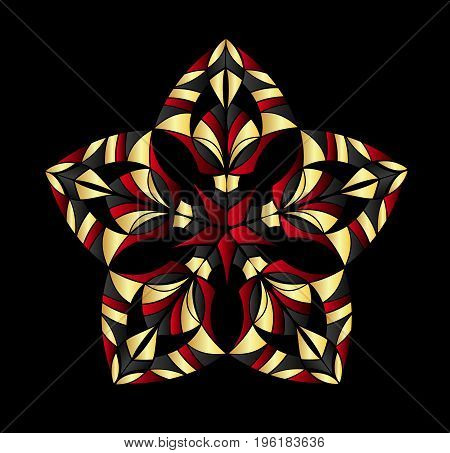 Abstract ornament. Colorful ornament isolated on black background.