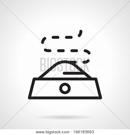 Abstract symbol of dish with pets food. Element of animal care, pet shop services. Black simple line design vector icon.