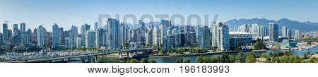 Vancouver, Canada - Circa 2017: A panoramic shot of the residental area of downtown, one of the most expensive housing markets in the world