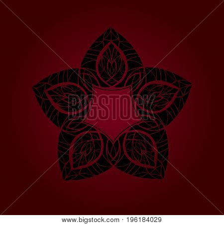 Abstract ornament. Black ornament isolated on red background.