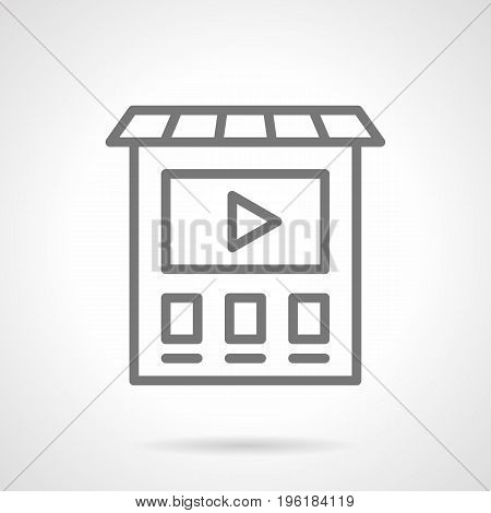 Abstract symbol of ads monitor on building. Outdoor and video advertising elements. Gray simple line design vector icon.