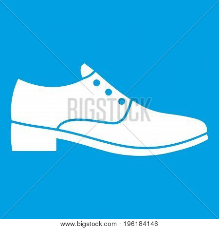 Men shoe icon white isolated on blue background vector illustration