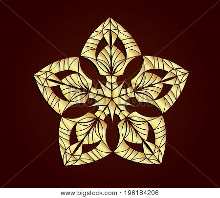 Abstract ornament. Gold ornament isolated on red background.