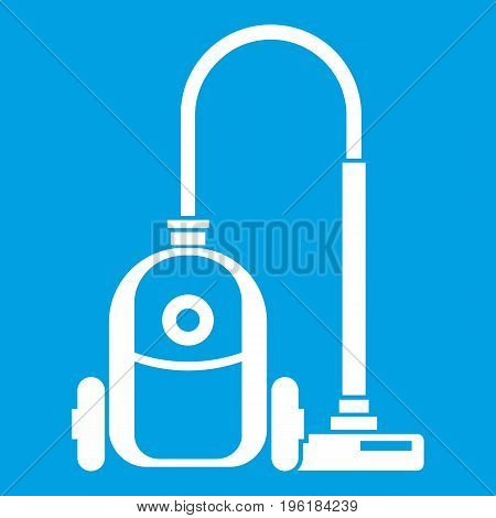 Vacuum cleaner icon white isolated on blue background vector illustration