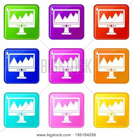Monitor and a chart icons of 9 color set isolated vector illustration