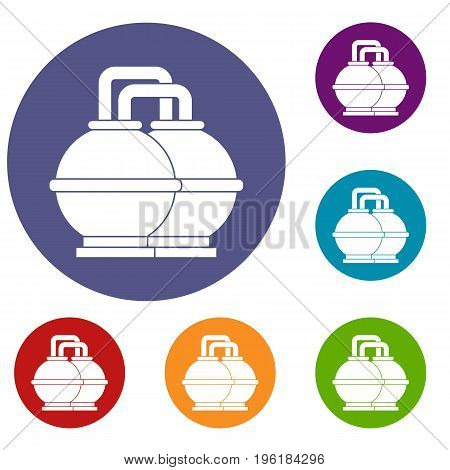 Industrial tanks for petrol and oil icons set in flat circle red, blue and green color for web