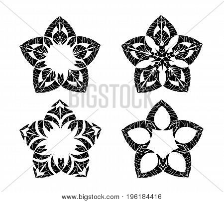 Abstract ornament. Black ornament isolated on white background.