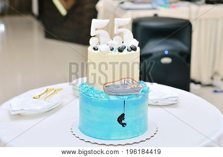 Birthday cake with candles. Focus is on cake