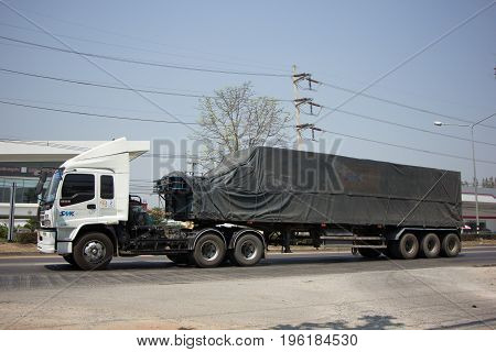 CHIANG MAI THAILAND -MARCH 3 2017: Container truck of SMK Logistics Transportation company. Photo at road no.121 about 8 km from downtown Chiangmai thailand.
