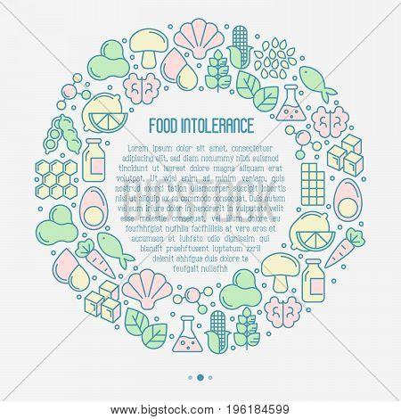 Food intolerance concept in circle with thin line icons of common allergens (gluten, lactose, soy, corn and more), sugar and trans fat, vegetarian and organic symbols. Vector illustration.