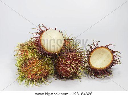 Fresh rambutan fruit isolated on white background