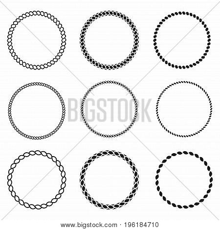 Rope Frame. Set Of Round Vector Frames From Nautical Rope. Round Marine Rope For Decoration