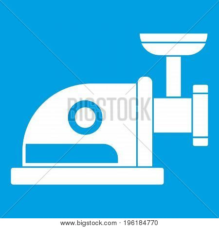 Electric grinder icon white isolated on blue background vector illustration