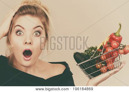 Woman With Vegetables, Shocked Face Expression