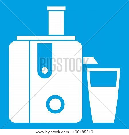 Juicer icon white isolated on blue background vector illustration