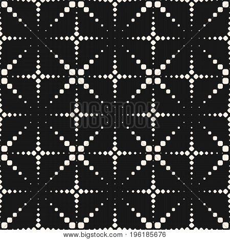 Vector seamless pattern. Halftone dotted lines. Texture with small dots, crosses, flashes, fireworks. Square grid repeat tiles. Abstract geometric monochrome background. Simple modern dark design. Halftone texture, cross pattern.