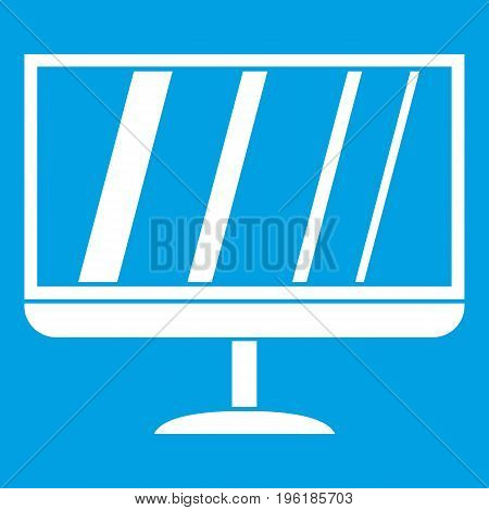 TV icon white isolated on blue background vector illustration