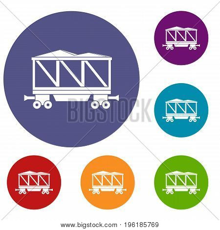Railway wagon icons set in flat circle red, blue and green color for web
