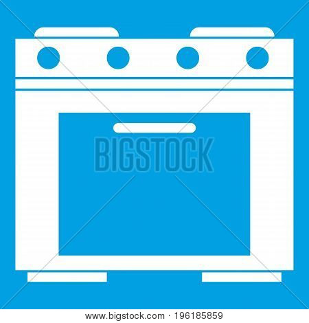 Gas stove icon white isolated on blue background vector illustration