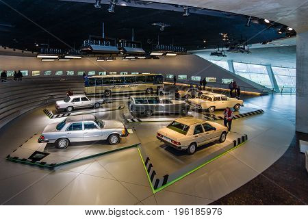 STUTTGART GERMANY- MARCH 19 2016: The Exhibition hall with the cars of the 60s and of 70th years of the 20th century. Mercedes-Benz Museum.