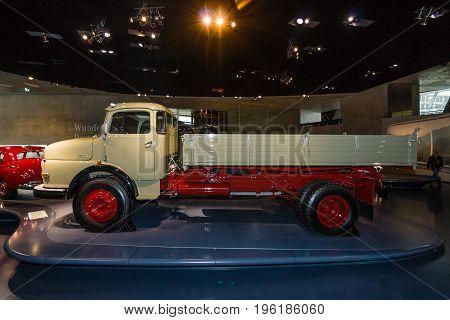 STUTTGART GERMANY- MARCH 19 2016: The dump truck Mercedes-Benz LK338 Kepper 1960. Mercedes-Benz Museum.