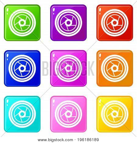 Camera aperture icons of 9 color set isolated vector illustration