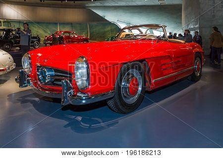 STUTTGART GERMANY- MARCH 19 2016: Sports car Mercedes-Benz 300 SL roadster 1962. Mercedes-Benz Museum.