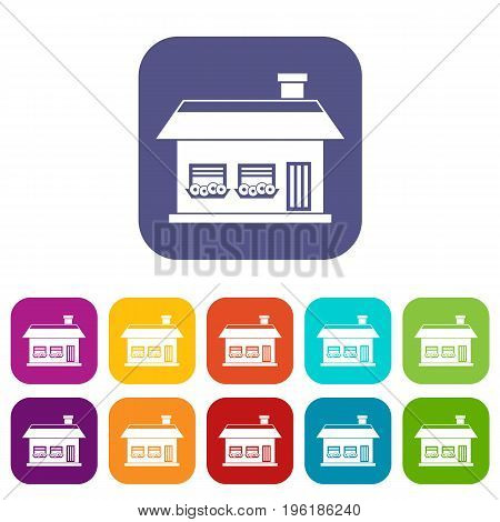 One storey house with two windows icons set vector illustration in flat style in colors red, blue, green, and other
